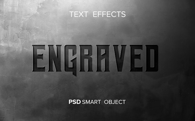 Abstract engraved text effect