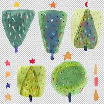 Абстрактная елка на рождество. акварельные разноцветные элементы разных геометрических форм