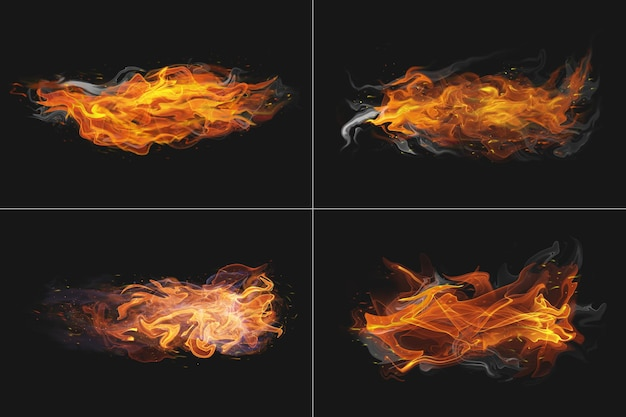 Abstract fire flame transparent shape