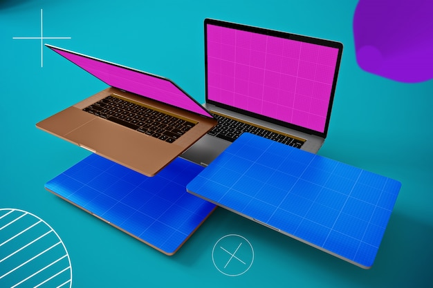 Abstract floating laptop mockup