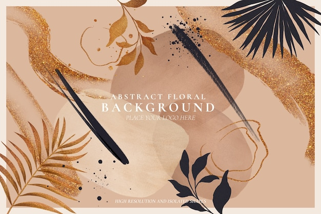 Abstract floral background with golden nature