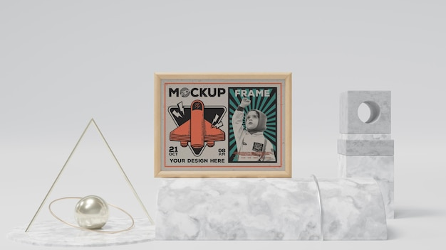 Abstract frame and items mockup