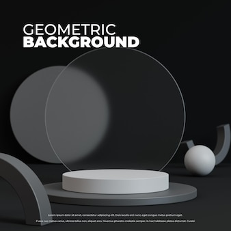 제품 디스플레이 3d 렌더링을 위한 연단이 있는 추상적인 기하학적 배경