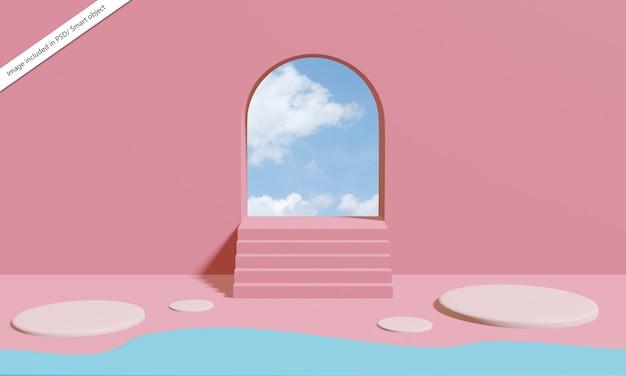 파스텔 핑크 색상의 추상적 인 기하학적 모양, 장면 최소한의 디자인