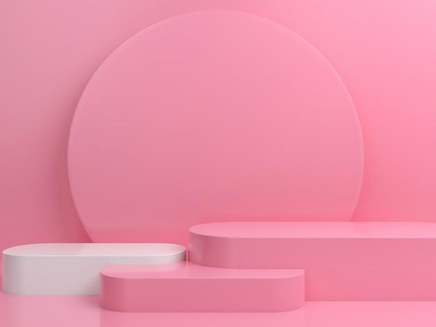 추상적 인 기하학적 모양 파스텔 색상 최소한의 연단 무대 디스플레이 모형 프리미엄 PSD 파일
