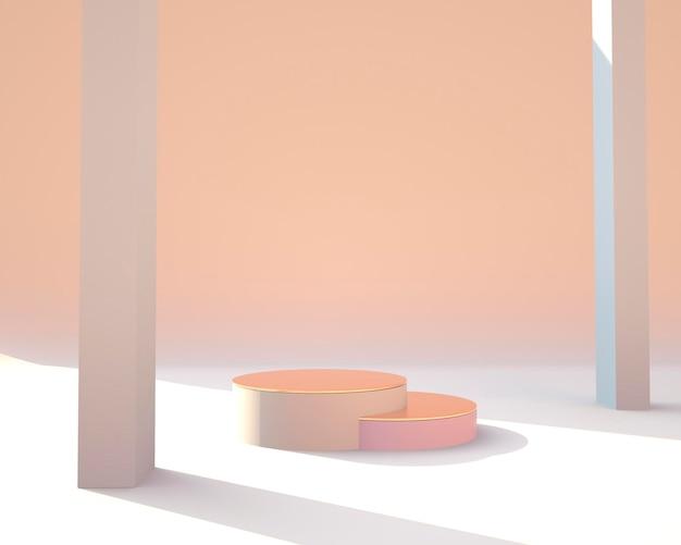 Абстрактные геометрические формы отображения продукта с минимальными и современными концепциями 3d-рендеринга