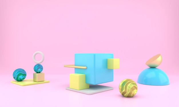 Абстрактные геометрические формы дисплея продукта с минимальными и современными концепциями рендеринга