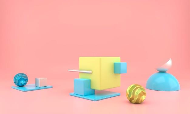 최소한의 현대적인 개념으로 제품 디스플레이의 추상적 인 기하학적 모양