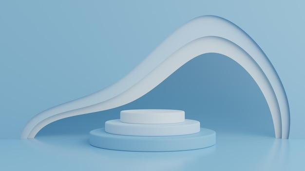 Abstract geometry shape blue color podium in 3d rendering