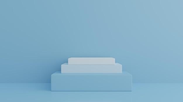 3d 렌더링에서 추상 기하학 모양 파란색 연단