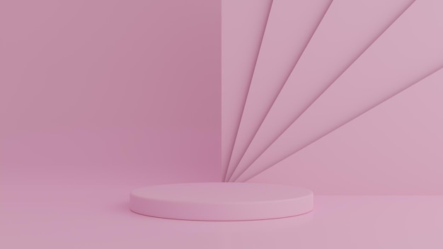 제품에 대 한 핑크 색상 배경에 추상 기하학 모양 핑크 색상 연단. 최소한의 개념. 3d 렌더링
