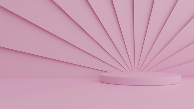 製品のピンク色の背景に抽象的な幾何学図形ピンク色の表彰台。最小限のコンセプト。 3dレンダリング
