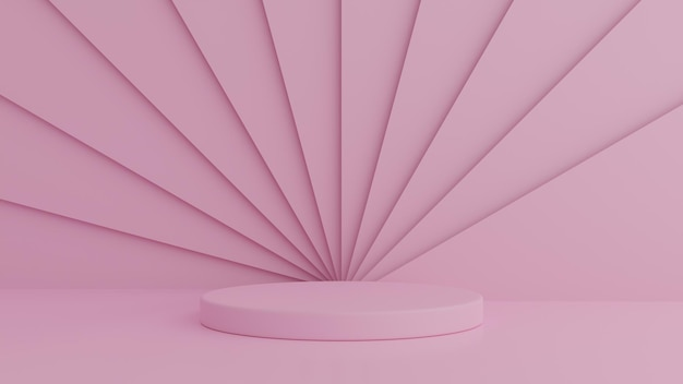 Abstract geometry shape pink color podium on pink color background for product. minimal concept. 3d rendering