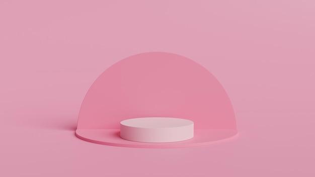 추상적 인 기하학 모양 화이트 색상과 핑크 색상 연단
