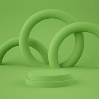 製品の幾何学的形状の表彰台と風光明媚な抽象的な緑。最小限のコンセプト。 3dレンダリング
