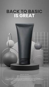 大理石の背景を持つ抽象的な灰色の表彰台