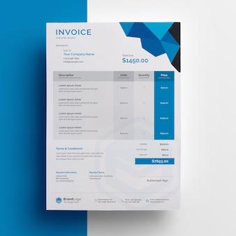 青いアクセントのある請求書テンプレートの抽象的なデザイン