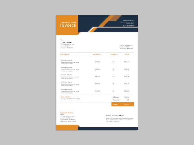 Abstract invoice template