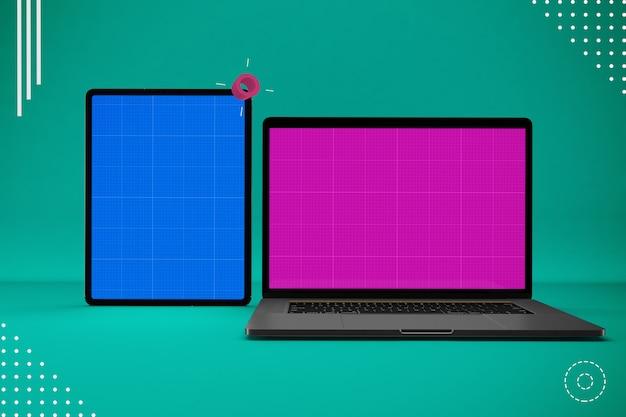 抽象的なラップトップとタブレットのモックアップ