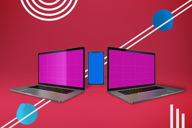 Abstract laptop pro & phone mockup