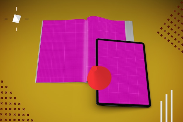 Абстрактный журнал и макет планшета