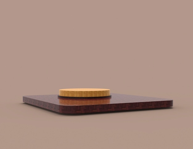 Abstract minimal scene with geometric forms cylinder wood podium