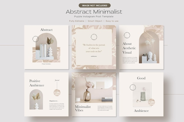 Abstract minimalist aesthetic instagram post template