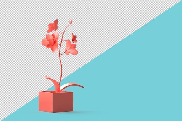 Абстрактный минималистичный розовый цветок в горшке на фоне бирюзового. 3d иллюстрации