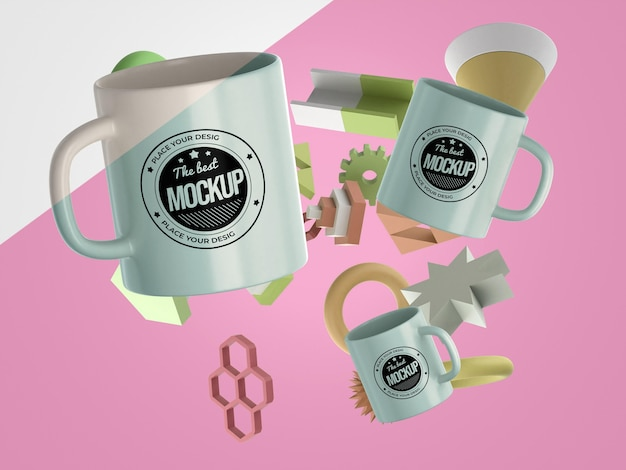 Abstract mock-up merchandise with bunch of mugs