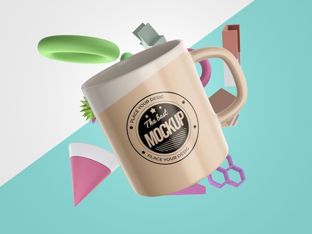 Abstract mock-up merchandise with a mug