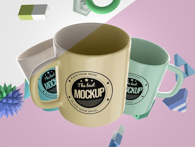 Abstract mock-up merchandise with mugs