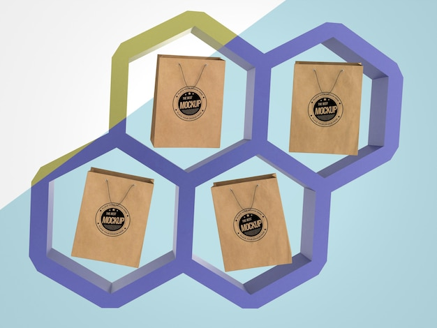 Abstract mock-up merchandise with paper bags in hexagons