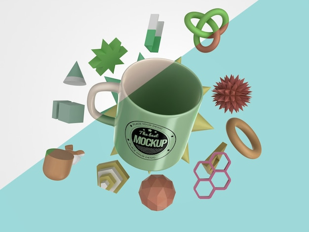 抽象的なモックアップマグカップ商品