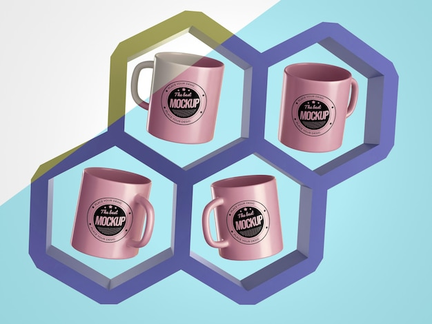 Abstract mock-up mugs merchandise in hexagons