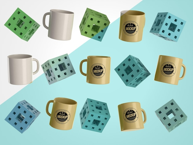 キューブ付きの抽象的なモックアップマグカップ商品
