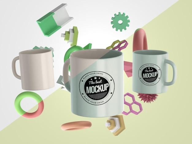 Abstract mock-up mugs merchandise