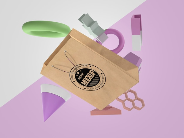 Abstract mock-up paper bag merchandise