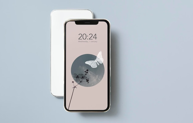 Abstract nature mobile screen on gray background mockup