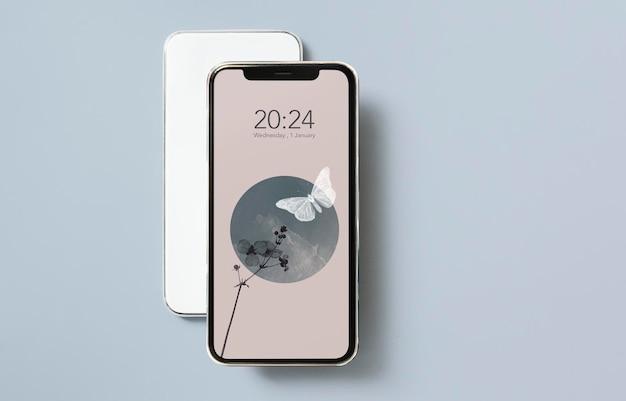 灰色の背景のモックアップの抽象的な自然のモバイル画面