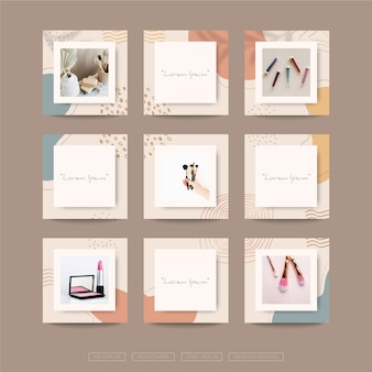Abstract organic shapes background for social media grid puzzle post template