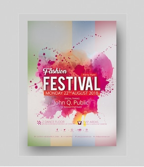 Abstract party poster mockup with pink stains