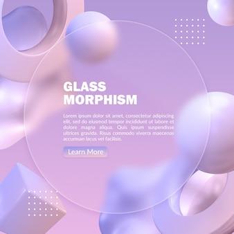 Абстрактный пастельный баннер с эффектом морфизма размытого стекла и объектом 3d-рендеринга
