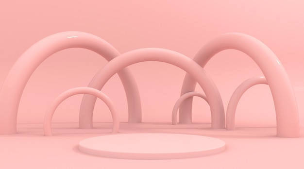 Abstract pink background scene for product display 3d rendering