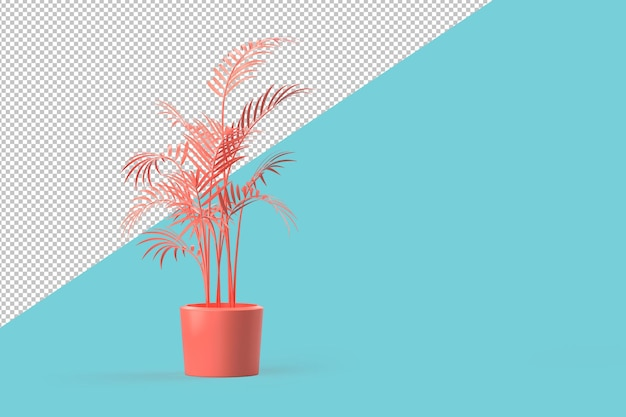 Abstract potted pink plant in vase clipping path