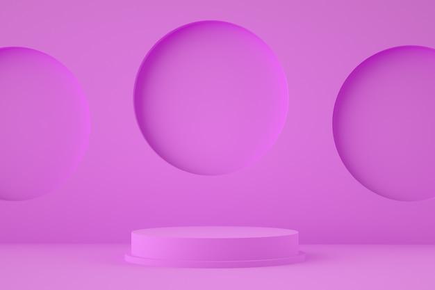 Абстрактная фиолетовая стена с геометрической формой подиума для размещения товара