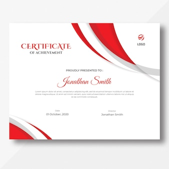 Abstract red certificate template
