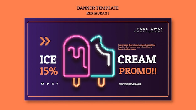 Abstract restaurant banner template with neon ice creams