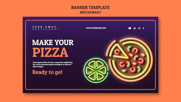 Abstract restaurant banner template with neon pizza