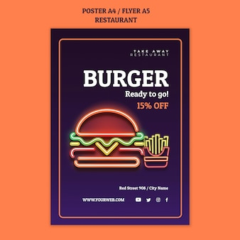 Abstract restaurant flyer template with neon burger