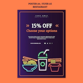 Abstract restaurant poster template with neon food